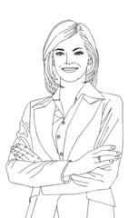 Businesswoman vector illustration in outline