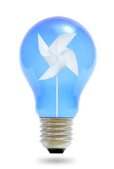 Paper windmill in a blue light bulb.