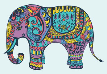 Stylized manycolored elephant