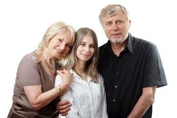 Portrait of three members of family