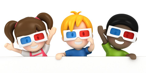 3d render of a kids wearing 3d glass and blankboard