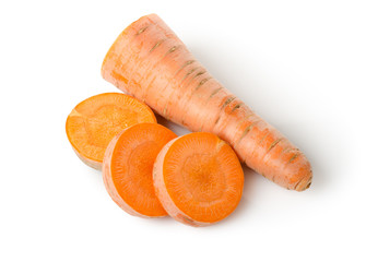 Fresh carrots isolated on a white