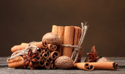 Cinnamon sticks, nutmeg and anise
