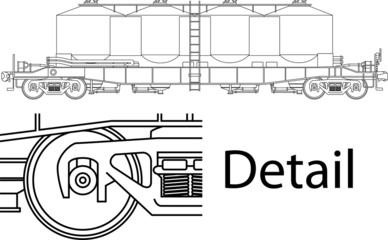 Vector high detailed flour carrying railway wagon