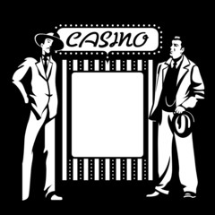 Tough mafia guys at the blank casino signpost