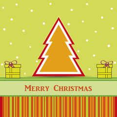 christmas card with tree and gifts. Vector EPS10
