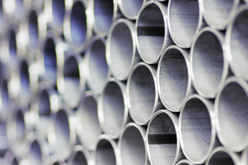 Close up of a stack of steel pipes