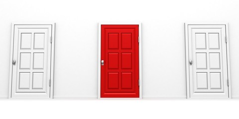 right choice red and white door success concept