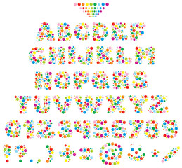Multicolor text font made of balls for children