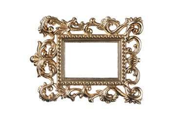 Vintage gold frame with clipping path