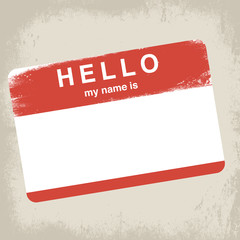 hello my name is label vector illustration