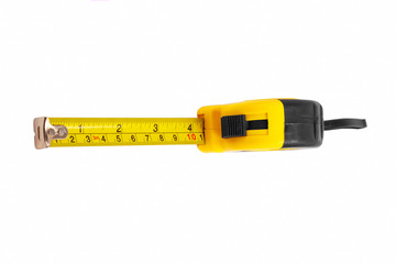 instrument measuring measuring tape on white background (clippin