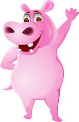 Hippo cartoon waving hand