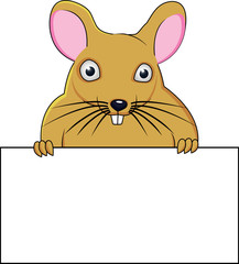 A cartoon mouse holding a blank sign.