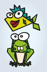 Abstract frog and fish