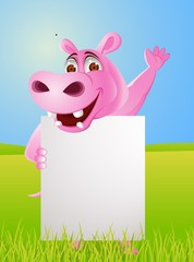 Hippo cartoon with blank sign