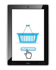 Buy online button on tablet pc.