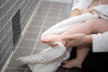 Drying Babys feet