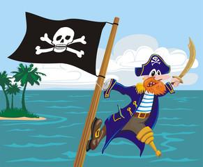 Foto op Plexiglas Piraten menacing pirate and jolly roger