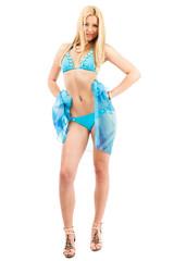 Blonde girl in swimsuit
