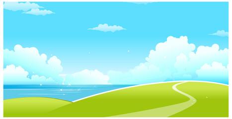 Keuken foto achterwand Lichtblauw Green landscape with sea and blue sky