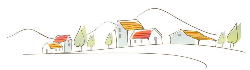 Rural houses on landscape