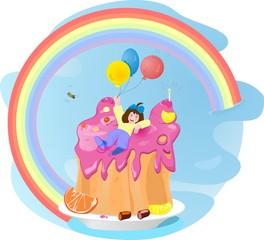 Poster Regenboog girl