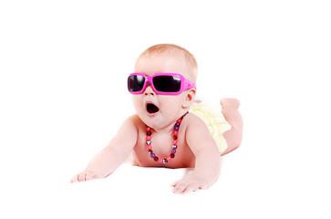 Pretty infant girl in sunglasses