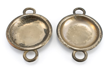 Two antique silver ashtrays