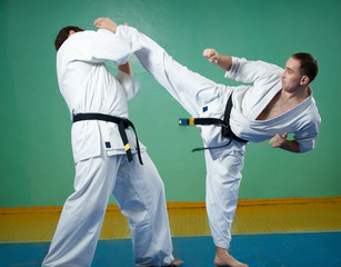 Karate fighters in action