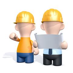 Bauarbeiter und Architekt mit Bauplan