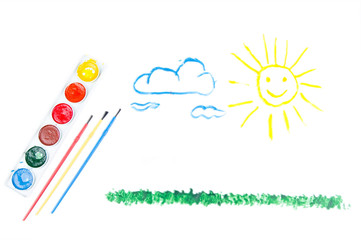 Child's drawing: watercolor, brush, sun, grass, clouds on a whit