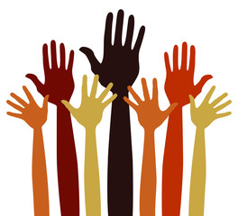 Volunteering or charitable hands vector.