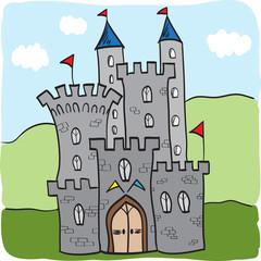 Fairytale castle kingdom cartoon style
