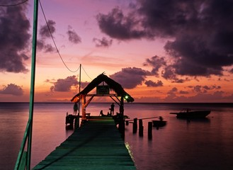 Printed roller blinds Pier Pigeon Point at sunset, Tobago, Caribbean © Arena Photo UK