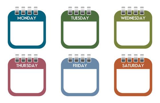 Week days calendar sheets