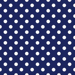 Vector seamless pattern with polka dots on navy background