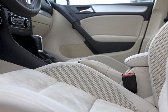 Inside of luxury car.