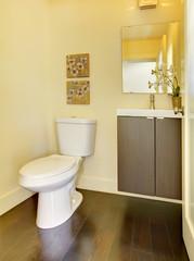 Wall Mural - Small simple yellow moern bathroom.