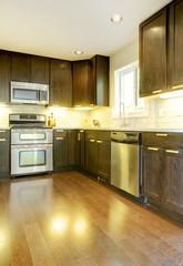 Wall Mural - Modern luxury new dark brown and white kitchen.