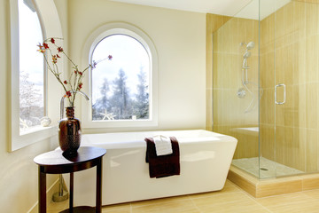 Wall Mural - Luxury new natural classic bathroom.