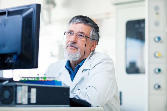 Senior researche using a computer in the lab