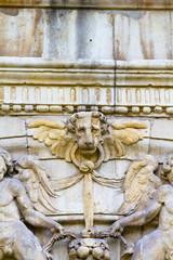 Lion head, facade of the University of Alcala de Henares, Madrid
