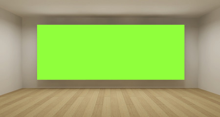 Empty room with green chroma key backdrop, 3d art concept, clean