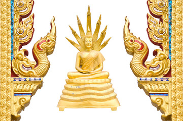 Gold Buddha Traditional Thai style pattern on background