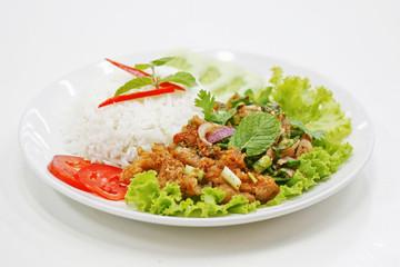 khao nam tok kai thai food