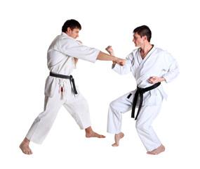 Karate. Men in a kimono. Battle sports capture