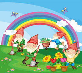 Spoed Fotobehang Regenboog Cartoon illustration