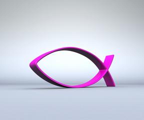 3D ICHTHYS Pink auf Grau 02