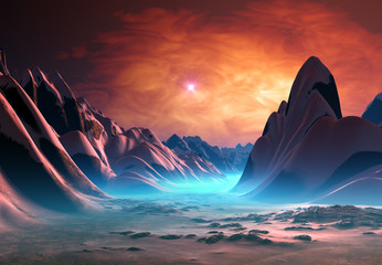 Foto op Canvas Bordeaux Alien Planet with Mountains